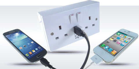2 Way UK Power Socket With 2 USB Ports