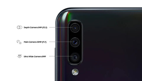 The A50 triple-lens rear camera