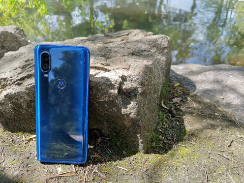 The Motorola One Vision in Blue