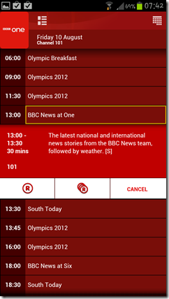 Screenshot from virgin media app