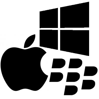 Apple Windows and BB logo