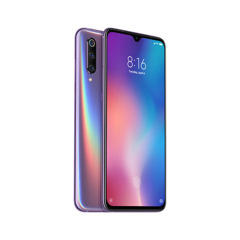 xiaomi mi 9 in purple back and front