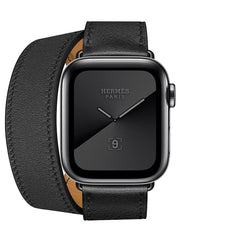 Apple Watch Series 5  - Space Black Stainless Steel - Hermes Double Tour