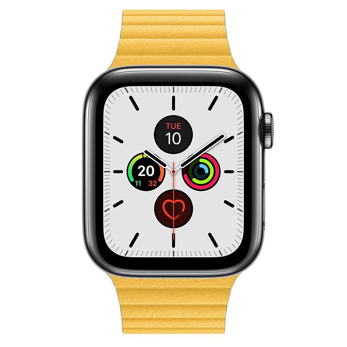 Apple Watch Series 5  - Space Black Stainless Steel - Leather Loop