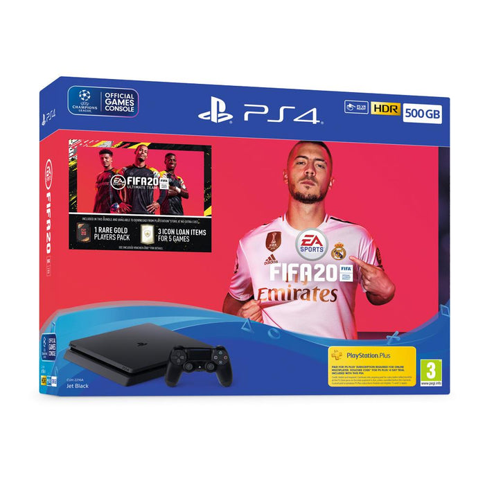 PS4 - 500GB - Black - FIFA 20 Bundle