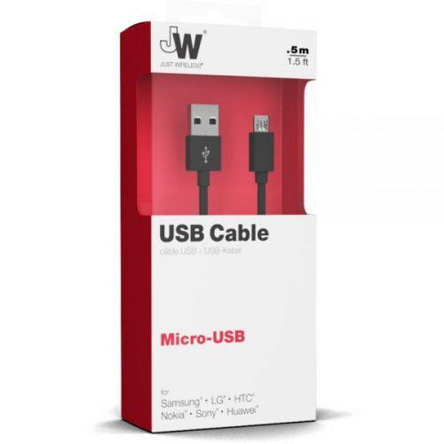 Just Wireless Micro USB Charge & Sync Cable - 0.5m - Black