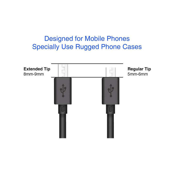 Micro USB Sync and Charge Cable - Extended Tip for Rugged Devices