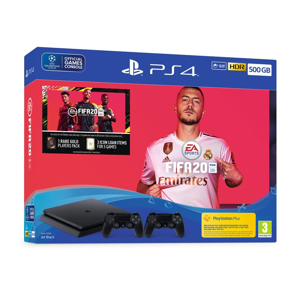PS4 - 500GB - Black - FIFA 20 Bundle with Second DUALSHOCK 4 Controller