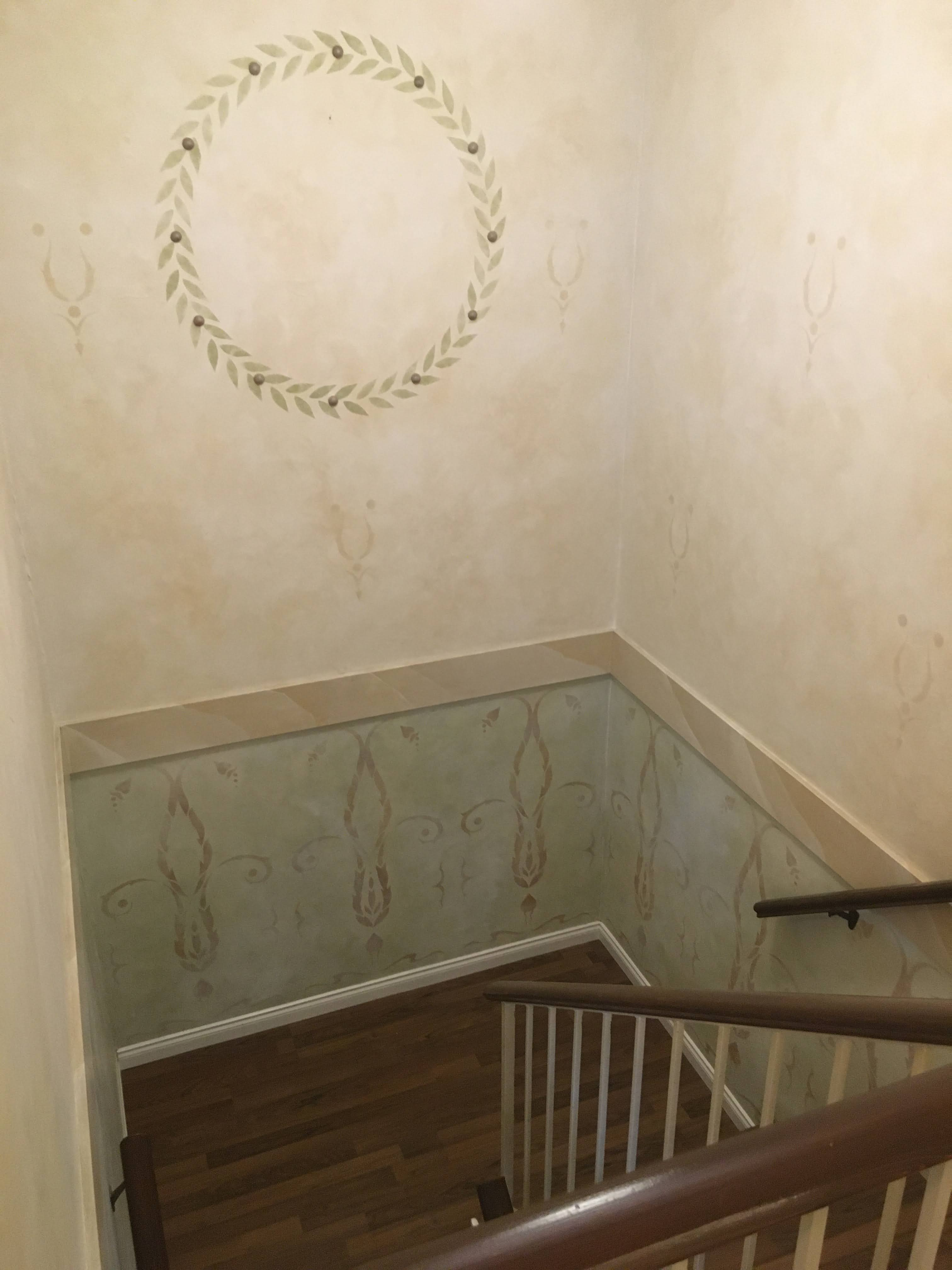 Stairwell with wall painting