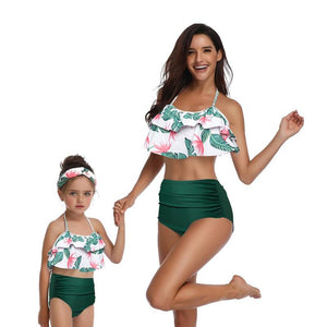 cc2403b5126 Parent-child Swimsuit Leaf Print Halter Bikini Set