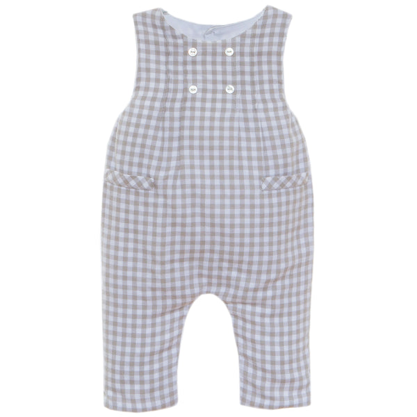 Baby Boy Grey Check Dungaree