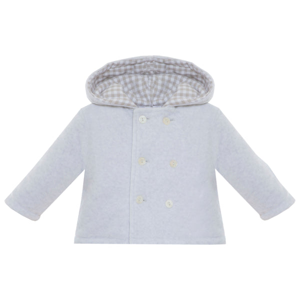 Baby Boy Melange Grey Coat with Hood