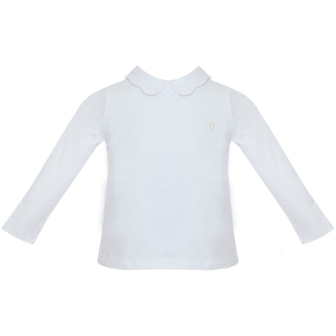 Girl's Knit Shirt with Scalloped Collar