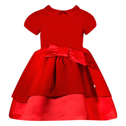 Girl's Red Velvet and Satin Dress