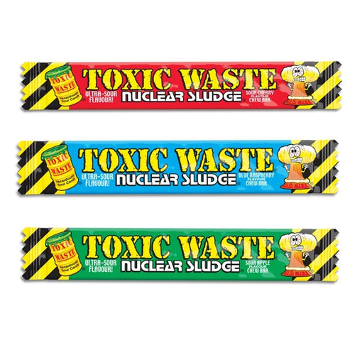 3 Bars of Toxic Waste Chews Apple Cherry Raspberry