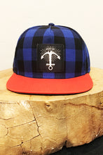Load image into Gallery viewer, Stay Up hat - 5 panel- Blue Buffalo Check w/ Orange Bill