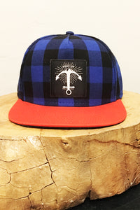 Stay Up hat - 5 panel- Blue Buffalo Check w/ Orange Bill