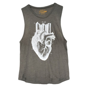 Women's Heart of the City- Grey Festival Muscle Tank