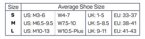 BR4 Bunion Relief Socks Size Chart
