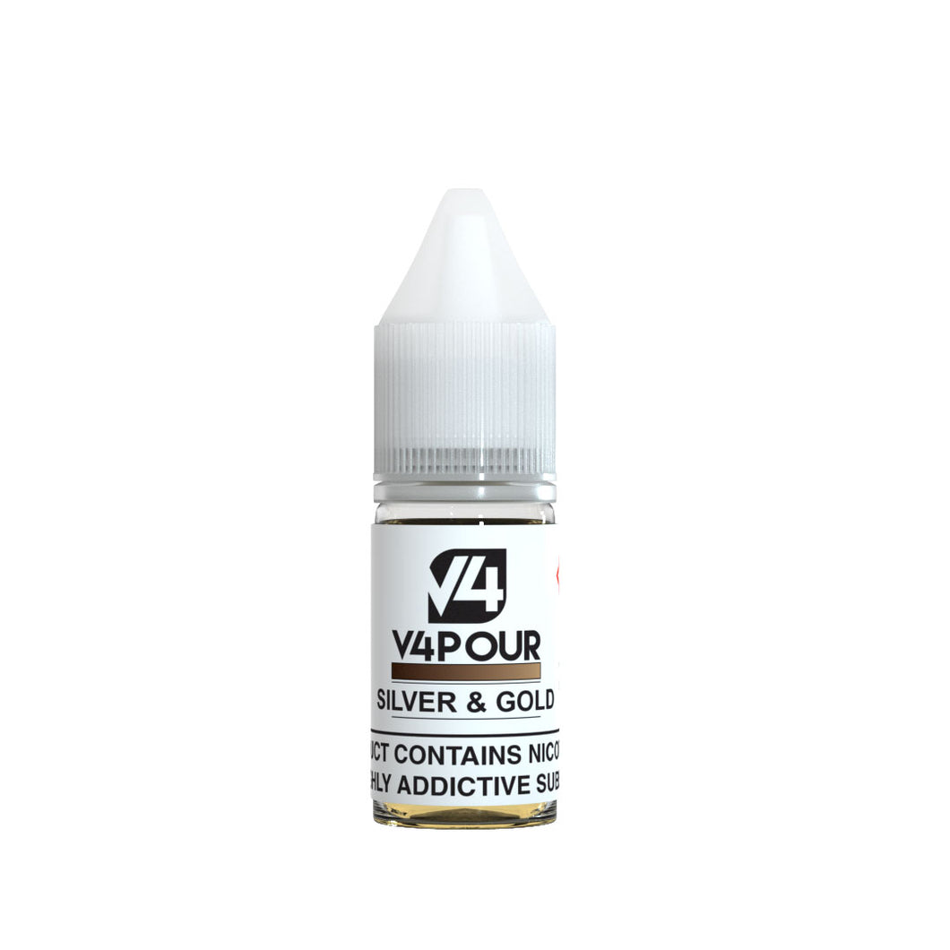 V4 V4POUR E Silver & Gold Tobacco 10ML - Loony Juice UK