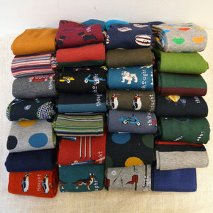 Collection of 28 pairs of Bamboo Socks size 7 - 11, some with Motifs, of Sports, dogs, stripes, spots and plain
