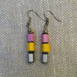 Upcycled Crayon Cubes Earrings with discs