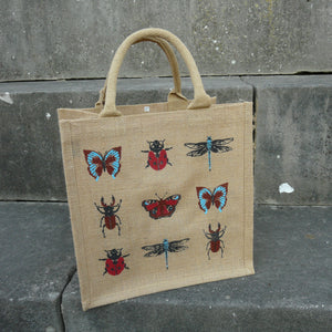 fair-trade-jute-shopping-bag-square-natural-insects-butterflies-beetles-ladybirds-dragonflies