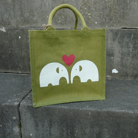 fair-trade-jute-shopping-bag-square-green-loveheart-2-white-elephants-facing
