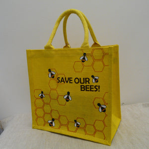 fair-trade-jute-shopping-bag-square-yellow-Save-Our-Bees-honey-comb