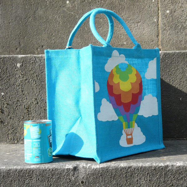 fair-trade-square-blue-jute-shopping-bag-multicoloured-hot-air-balloon-white-clouds-sideview