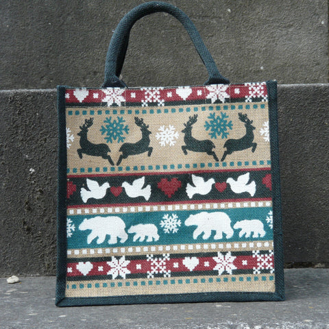fairtrade-jute-shopping-bag-square-beige-front-back-black-sides-handle-polar-bears-doves-reindeer