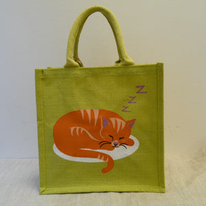 fair-trade-jute-shopping-bag-square-green-ginger-cat-curled-up-asleep