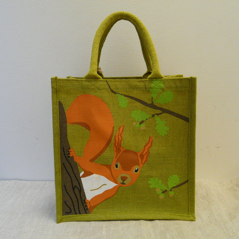 fair-trade-jute-shopping-bag-square-green-squirrel-looking-round-oak-tree-trunk-branch-with-oak-leaves