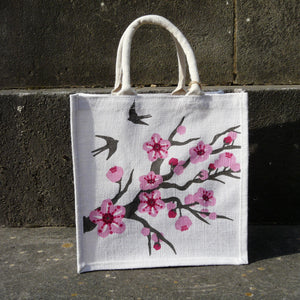 fair-trade-jute-shopping-bag-square-white-pink-cherry-blossom-swallows