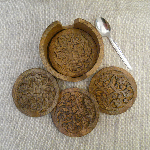 P1110076-Fair-Trade-carved-Mango-wood-Malabar-Vine-Coasters-3-with-Holder-and-teaspoon