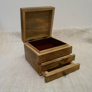 P1110094-Fair-trade-Mango-wood-Carved-Square-Jewellery-Box-with-2-drawers-open