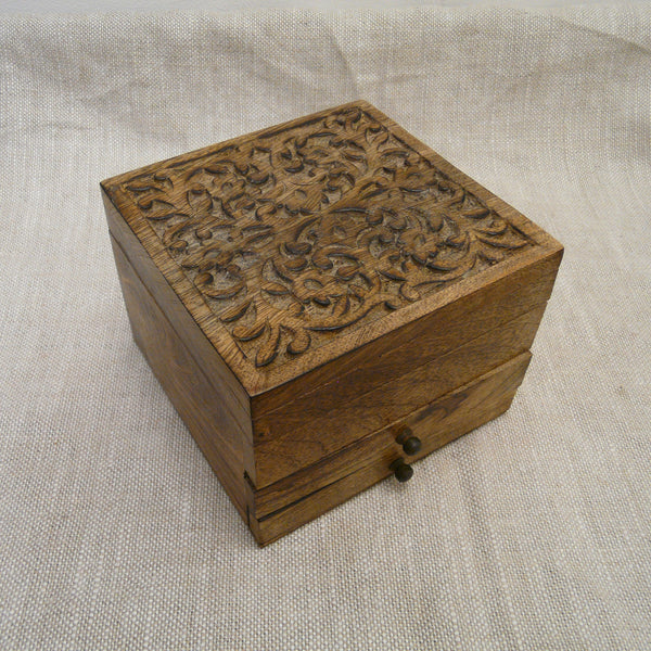 P1110097-Fair-trade-Mango-wood-Carved-Square-Jewellery-Box-with-2-drawers
