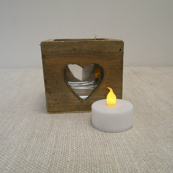 Driftwood Tealight Holder with Heart Cut Out