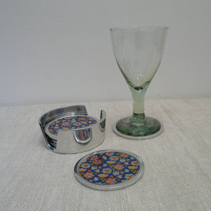 P1110189-Fair-Trade-Recycled-Aluminium-Flower-Coaster-Set-Holder-with-2-glass-blue