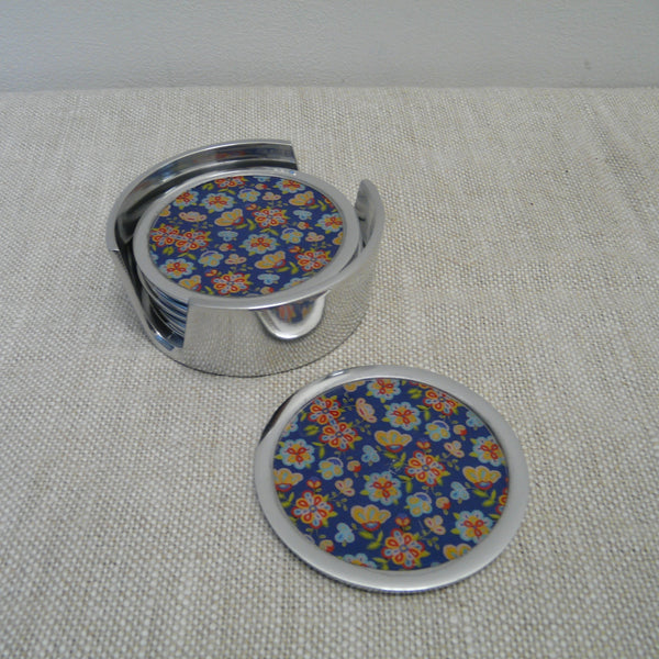 P1110190-Fair-Trade-Recycled-Aluminium-Flower-Coaster-Set-Holder-with-1-coaster-Blue