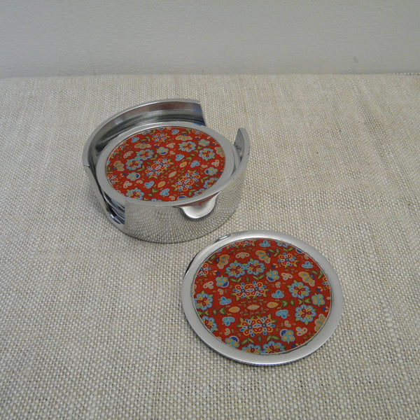 P1110194-Fair-Trade-Recycled-Aluminium-Flower-Coaster-Set-Holder-with-1-coaster-Red
