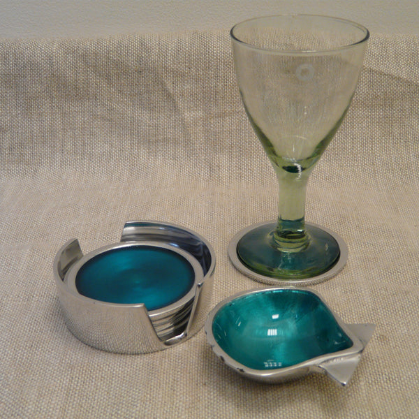 P1110256-Fair-Trade-Recycled-Aluminium-Turquoise-Coaster-set-with-glass-and-shell-dish
