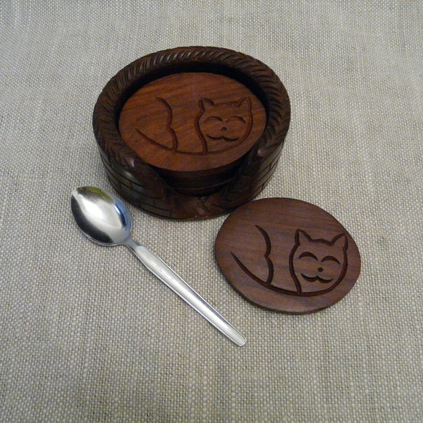 P1110271-Fair-trade-Sesham-wood-Cat-in-basket-Oval-Coaster-set-holder-single-coaster-teaspoon