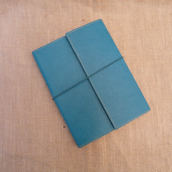 Spiral Bound Handmade Turquoise A5 'Cotton Leather' Journal