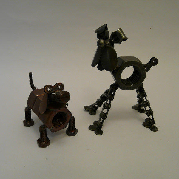 P1110416-fair-trade-upcycled-bike-chain-short-nut-dog-with-tall-dog-front-view