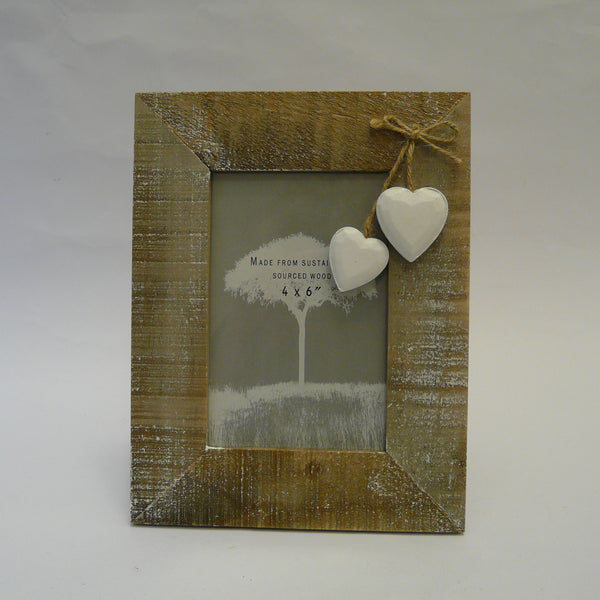 Driftwood Picture Frame with White Hearts
