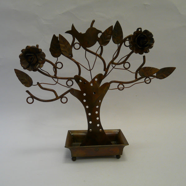 P1110467-Fair-trade-Metal-Jewellery-holder-tree-with-flowers-bird-leaves.