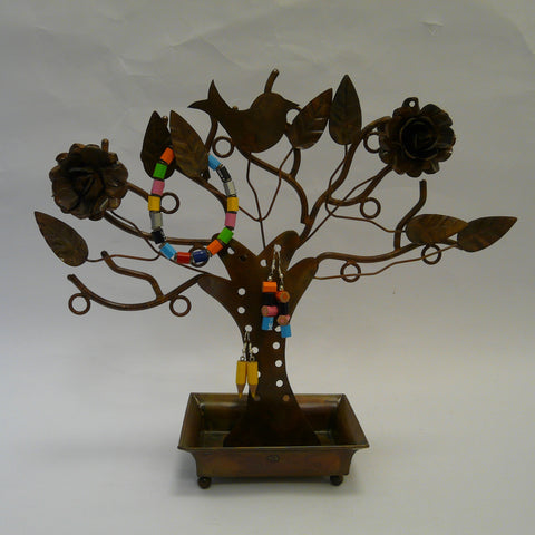 P1110468-Fair-trade-Metal-Jewellery-stand-holder-tree-with-flowers-bird-leaves-Upcycled-crayon-Earrings-bracelet.
