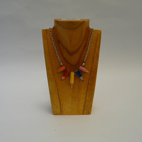 P1110474-fair-trade-upcycled-crayons-5-stubs-necklace-on-wood-stand