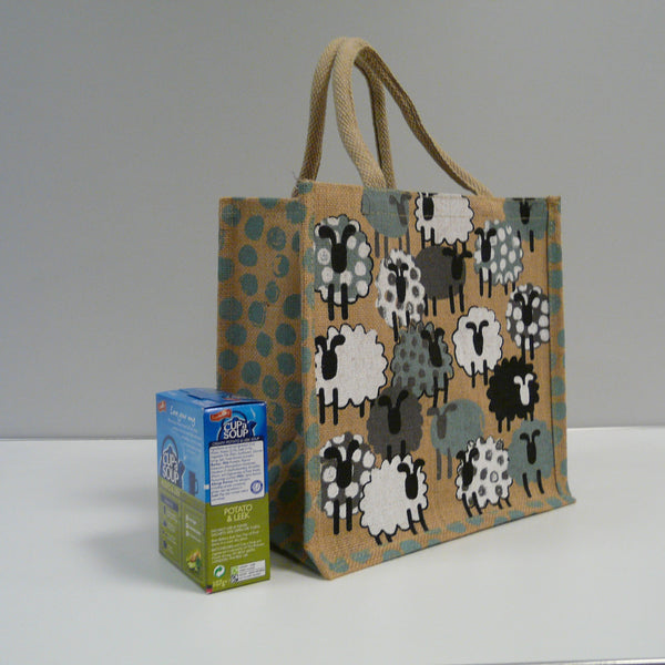 Flock of Sheep Beige Jute Bag